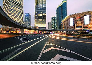 shanghai, lujiazui, nuit, autoroute