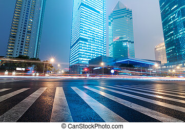 shanghai, lujiazui, pénzel, &, kereskedelem, sáv, modern, város, éjszaka, háttér