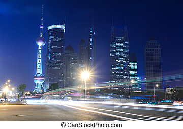 shanghai, lujiazui, stad, natt lätta