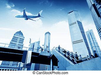 Shanghai Lujiazui - the street scene of the lujiazui...