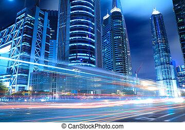 shanghai, lujiazui, város, éjszaka csillogó