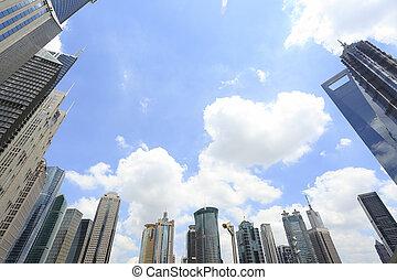 shanghai, lujiazui, ville, paysage