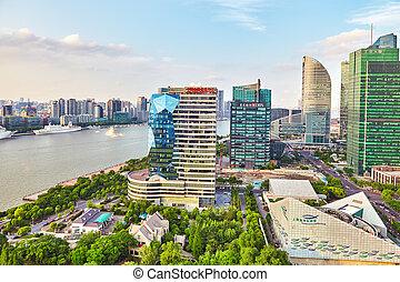 shanghai-may, 24, 2015., láthatár, kilátás, alapján, gát, waterfront, képben látható, pudong, új, area-, a, ügy, negyed, közül, a, shanghai., shanghai, alatt, legtöbb, dinamikus, város, közül, china.