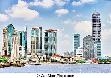 shanghai-may, 24, 2015., láthatár, kilátás, alapján, gát, waterfront, képben látható, pudong, új, area-, a, ügy, negyed, közül, a, shanghai., shanghai, körzet, alatt, legtöbb, dinamikus, város, közül, china.