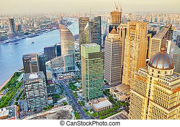 shanghai-may, 24, 2015., skyline, udsigter, af, bund, søside, på, pudong, nye, area-, den, firma, egn, i, den, shanghai., shanghai, distrikt, ind, mest, dynamik, byen, i, china.