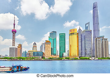 SHANGHAI-MAY 24, 2015. Skyline view from Bund waterfront on Pudong New Area- the business quarter of the Shanghai. Shanghai in most dynamic city of China.