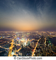 shanghai metropolis at night - aerial view of the bright...