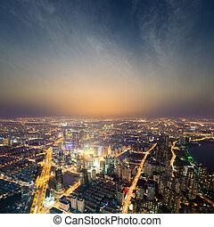 shanghai metropolis at night - aerial view of the bright ...