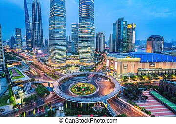 shanghai in nightfall aerial view of lujiazui downtown, China