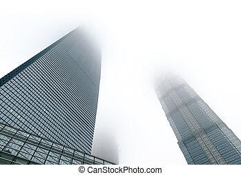 shanghai, niebla, pudong