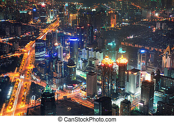 Shanghai night aerial view