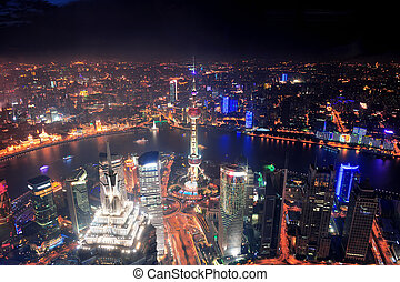 Shanghai night aerial view