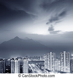 Shanghai Night - Aerial view of city night