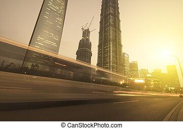 Shanghai night view of traffic