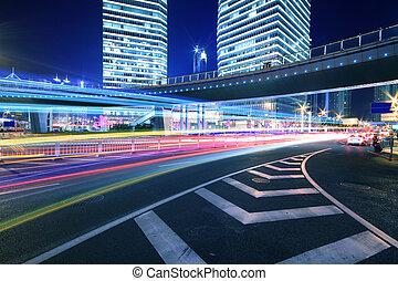 shanghai, noche, arco irirs, paso superior de la carretera, escena, cityscape
