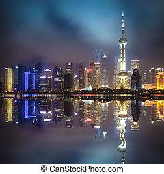 shanghai, noche, pudong, contorno, reflexión