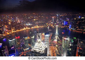 shanghai, noche, vista aérea