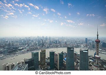 shanghai, panorama, an, dämmerung