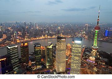 shanghai, panoramisch, an, dämmerung