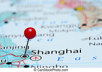 Shanghai pinned on a map of Asia