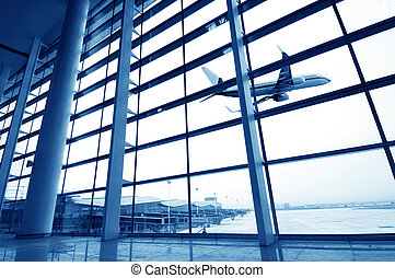 Shanghai Pudong Airport Terminal, modern building interior.