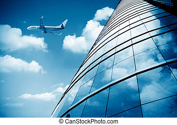 Shanghai Pudong Airport's aircraft - glass curtain wall and...