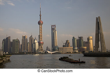 Shanghai Pudong Barge - Barge in front of TV Tower Pudong,...