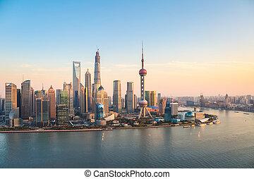 shanghai, pudong, em, anoitecer