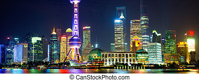 Shanghai Pudong panorama at night, China
