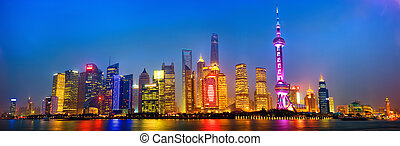 Shanghai Pudong panorama - Shanghai skyline panorama at...