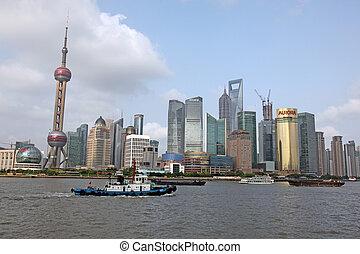 shanghai, pudong, skyline, ansicht bund, -