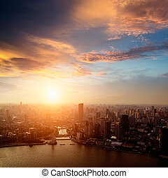 shanghai pudong skyline at sunset - Pudong skyline at...
