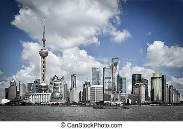 shanghai pudong skyline, China - shanghai skyline pudong...
