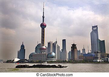 shanghai, pudong, skyline, fernsehapparat aufsatz,...