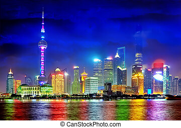 Shanghai Pudong skyline view from the Bund, China.