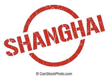 shanghai, redondo, grunge, aislado, señal, stamp.