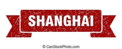 shanghai, rojo, ribbon., señal, grunge, banda
