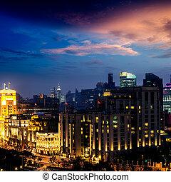 shanghai skyline at night  - shanghai skyline at night