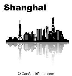 Shanghai skyline - black and white vector illustration