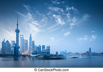 shanghai skyline in dawn - dawn scene of shanghai skyline...