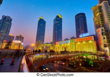 shanghai, skyline, nacht, heraus, von, fokus.