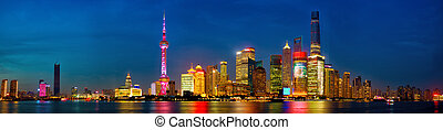 Shanghai skyline panorama at dusk, China