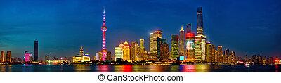 Shanghai skyline panorama at dusk, China