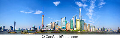 Shanghai skyline panorama - Panoramic view of Shanghai...