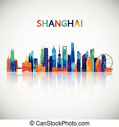 Shanghai skyline silhouette in colorful geometric style.
