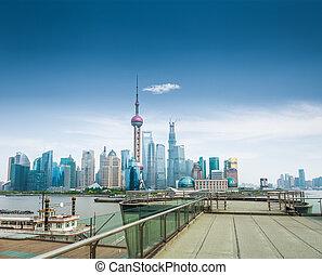 shanghai, skyline, und, a, besichtigung, arbeitsbühne