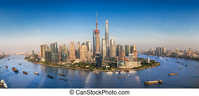Shanghai skyline with modern urban skyscrapers, China,...