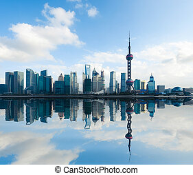 shanghai skyline with reflection at daytime - shanghai...