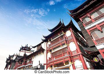 shanghai, starobylý, architektura