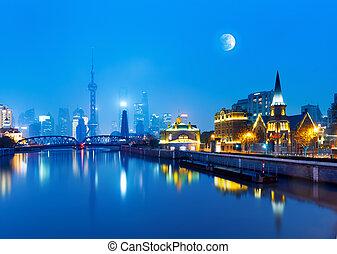 shanghai - Beautiful Shanghai Pudong skyline at dusk